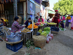 A busier section of the Mani Sithu market in Nyaung U, Myanmar