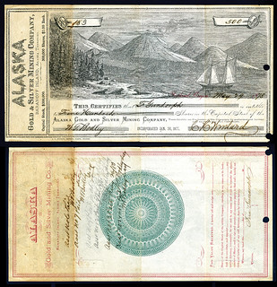 Archives Internationsl Sale 51 Lot 777. Alaska Gold & Silver Mining Company, 1878 Stock Certificate Rarity
