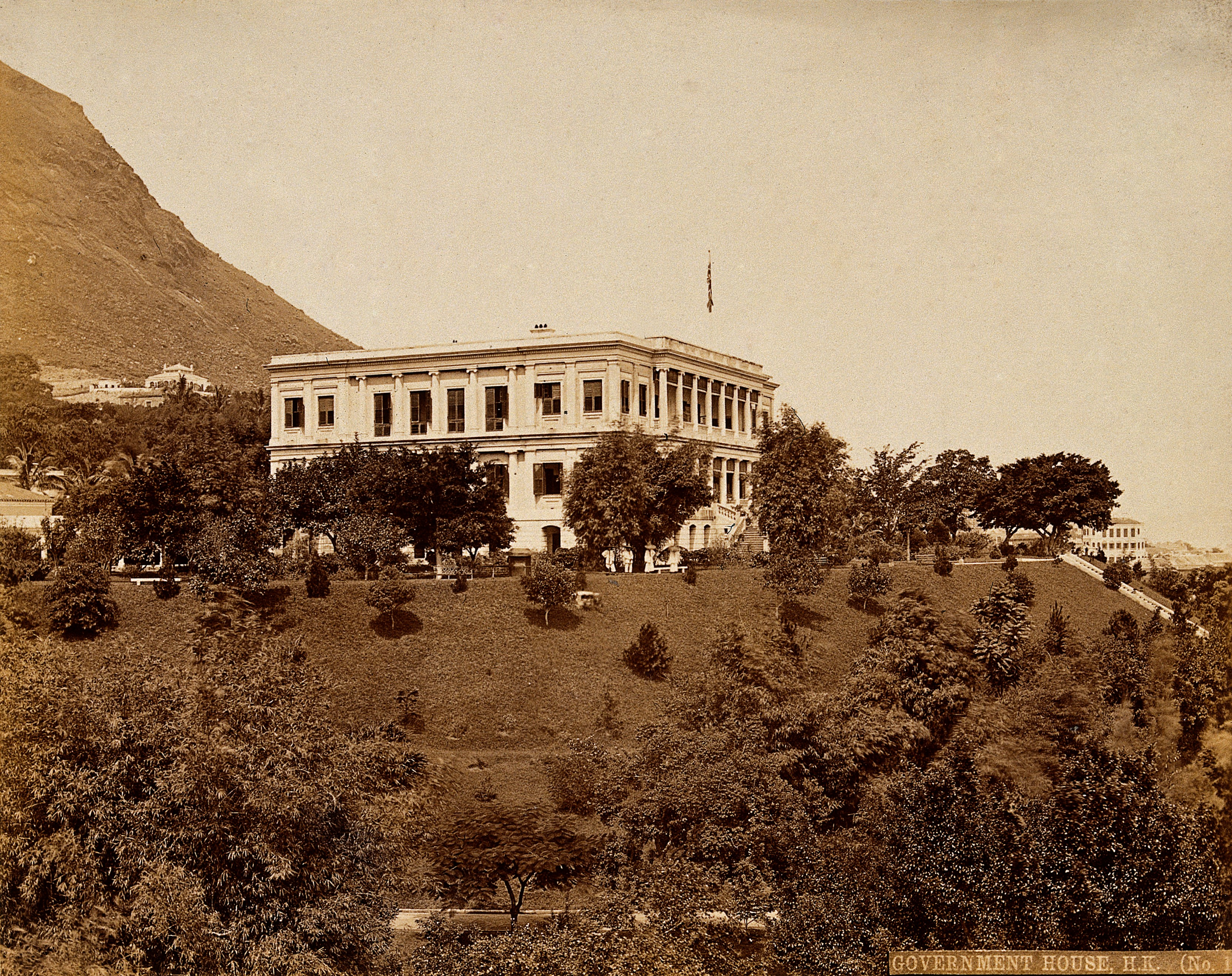 Government House and grounds at Hong Kong, photographed in 1873.