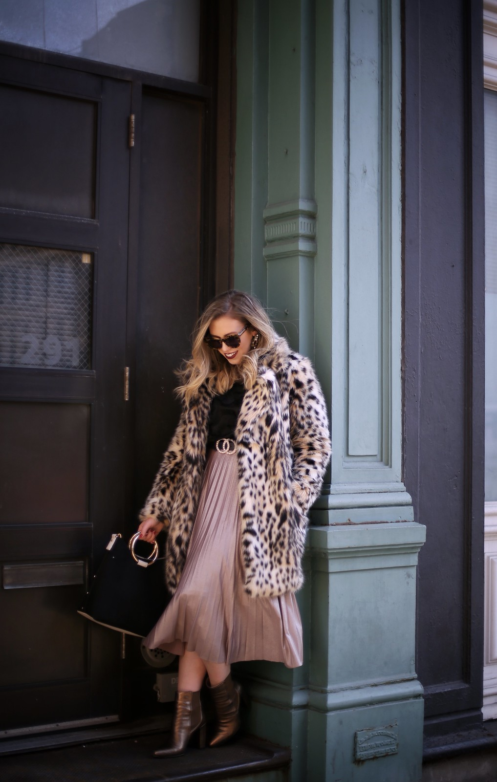 Leopard Faux Fur Coat Pleated Midi Skirt Bronze Booties Sex in the City NYC Street Style Winter Outfit Inspiration