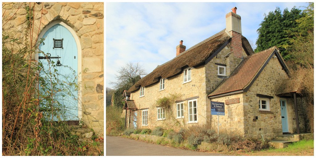 Thatched-roofed cottages and cute little doors, Branscombe