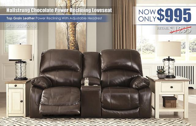 Hallstrung Chocolate Wide Seat Reclining Loveseat_U52402-18