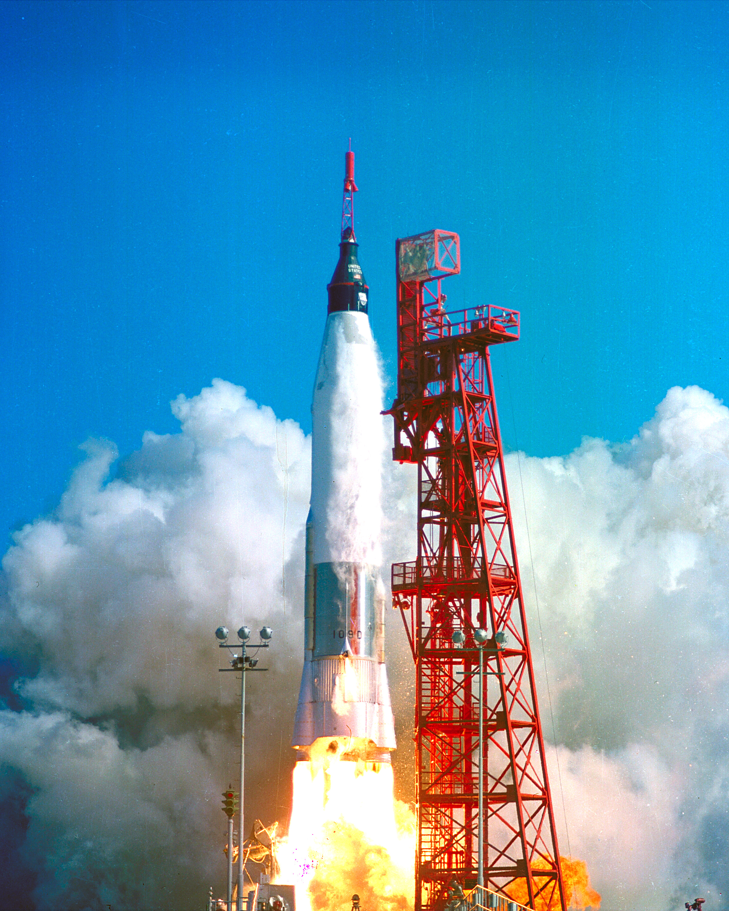 Launch of Friendship 7, the first American manned orbital space flight. Astronaut John Glenn aboard, the Mercury-Atlas rocket is launched from Pad 14, February 20, 1962.