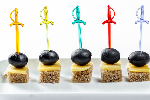 Small canapés to snack on white background