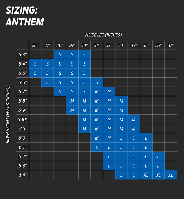 Giant Anthem Size Chart