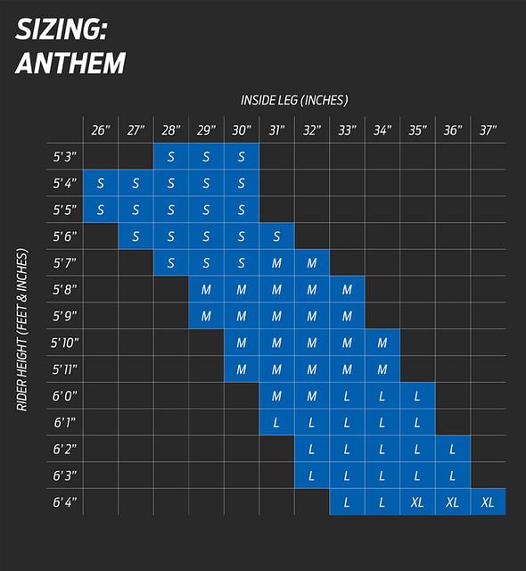 Giant Anthem Size Chart