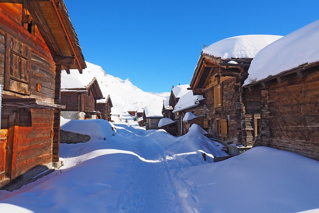 Snow covered roofs, Zermatt, Switzerland