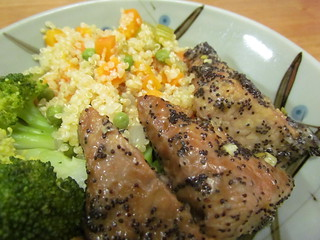 Lemon Poppy Seed Tempeh; Confetti Quinoa; steamed broccoli