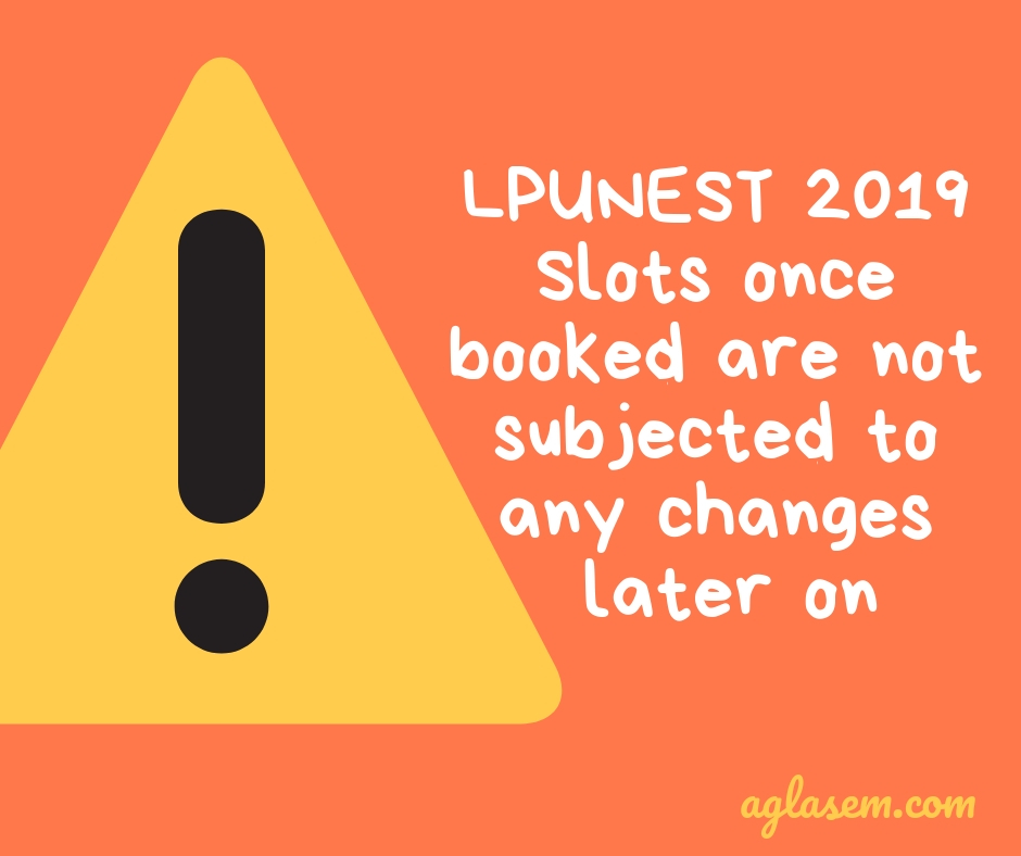 LPUNEST 2019 Slot Booking