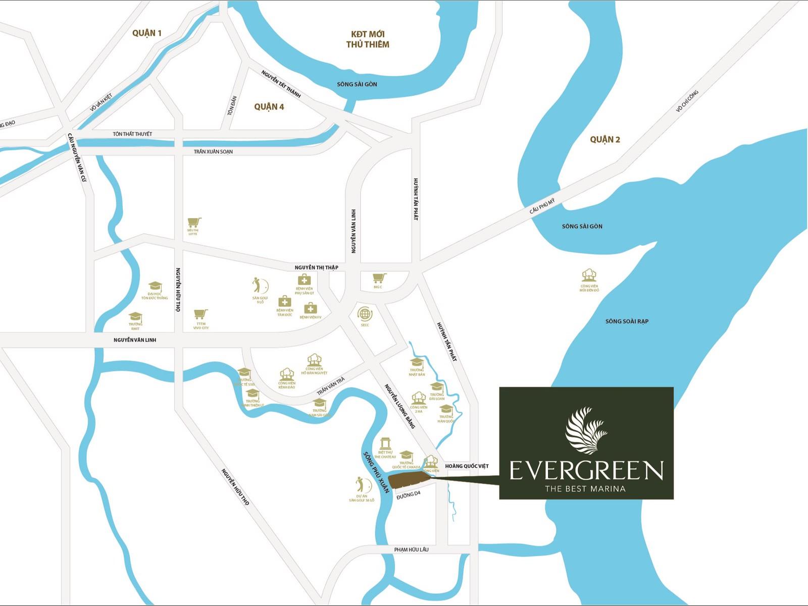 Vị trí dự án Biệt thự TNR Evergreen