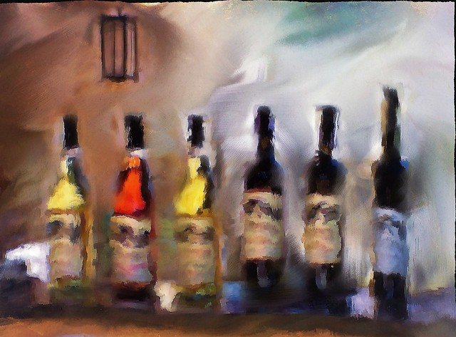 Six bottles of wine. Painterly still life. Perissos Vineyard.