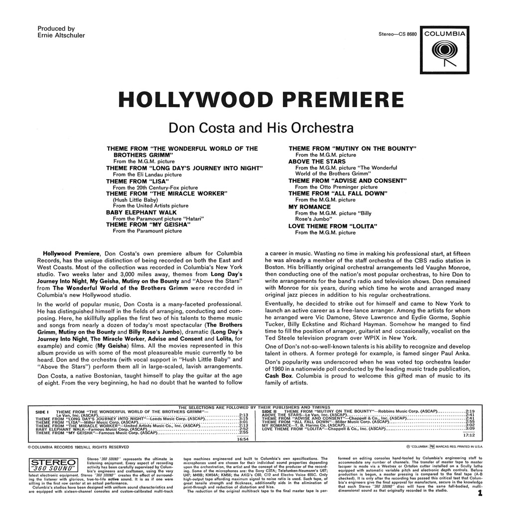 Don Costa - Hollywood Premiere!