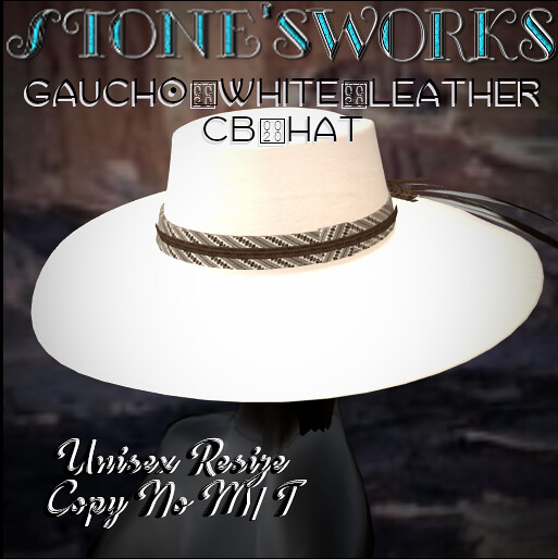 Gaucho White Leather CB Hat Stone's Works - TeleportHub.com Live!