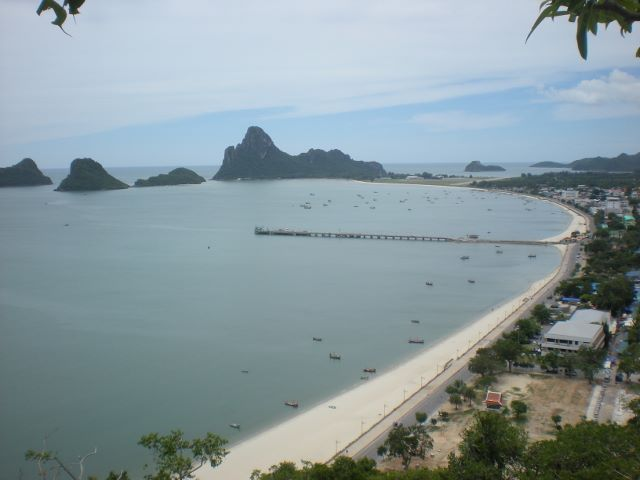 The Japanese invasion site at Prachuap Khiri Khan, Thailand. Above the pier is Khao Lummuak hill and the flat land immediately to the right is the airfield and landing site.