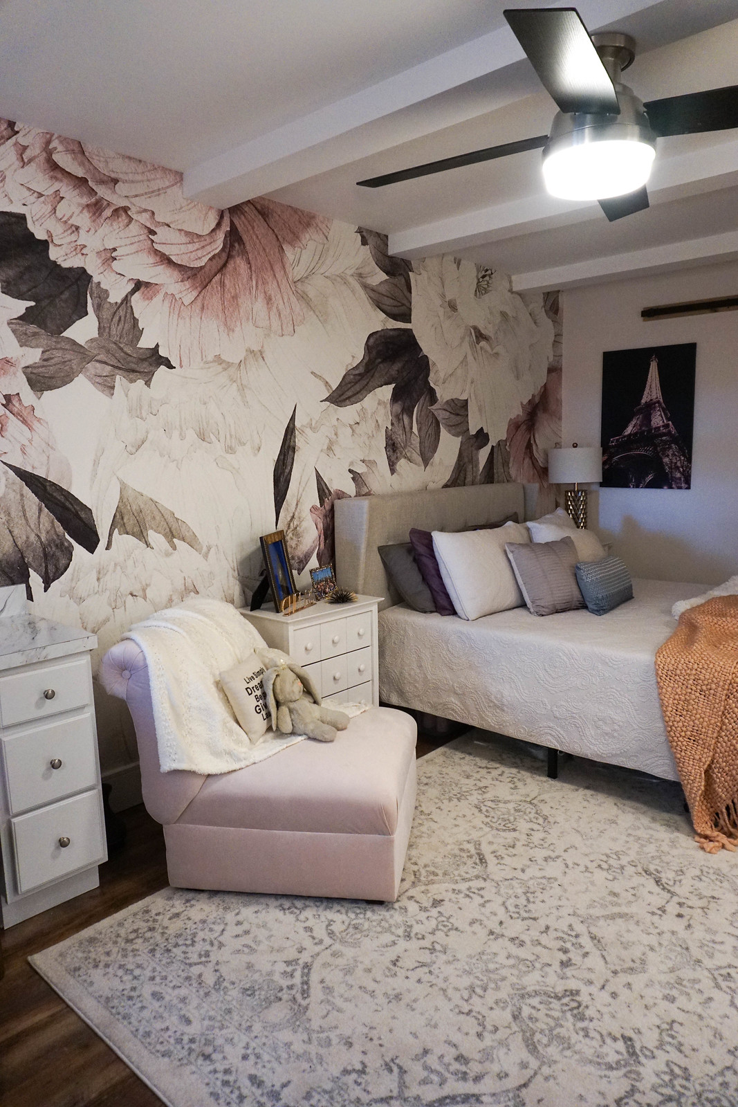 Anewall Blush Bouquet Wallpaper Mural Anthropologie Pink Velvet Chair nuLOOM Bosphorus Floral Ornament Rug Girly Bedroom