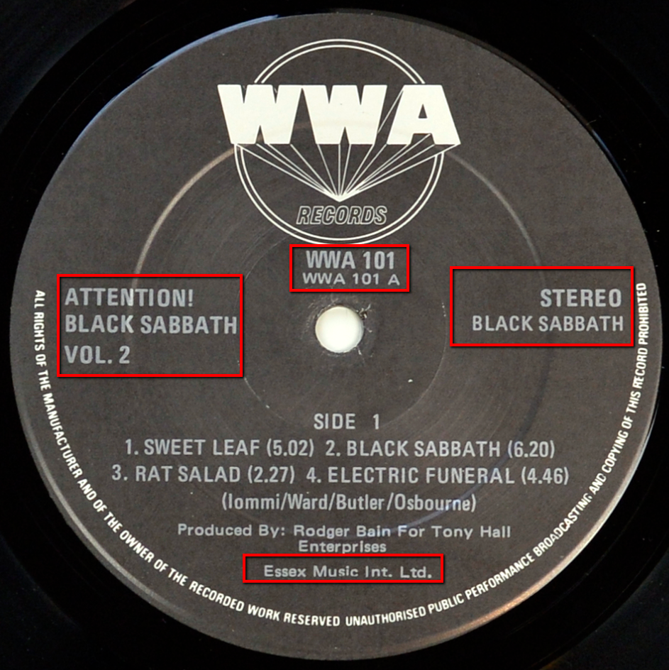Close up of the record's label