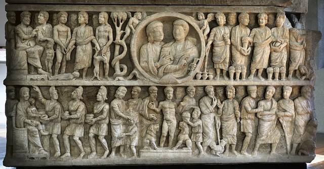 'Dogmatic' marble relief, early Christian sarcophagus, Basilica San Paolo fuori le Mura, c340 CE.