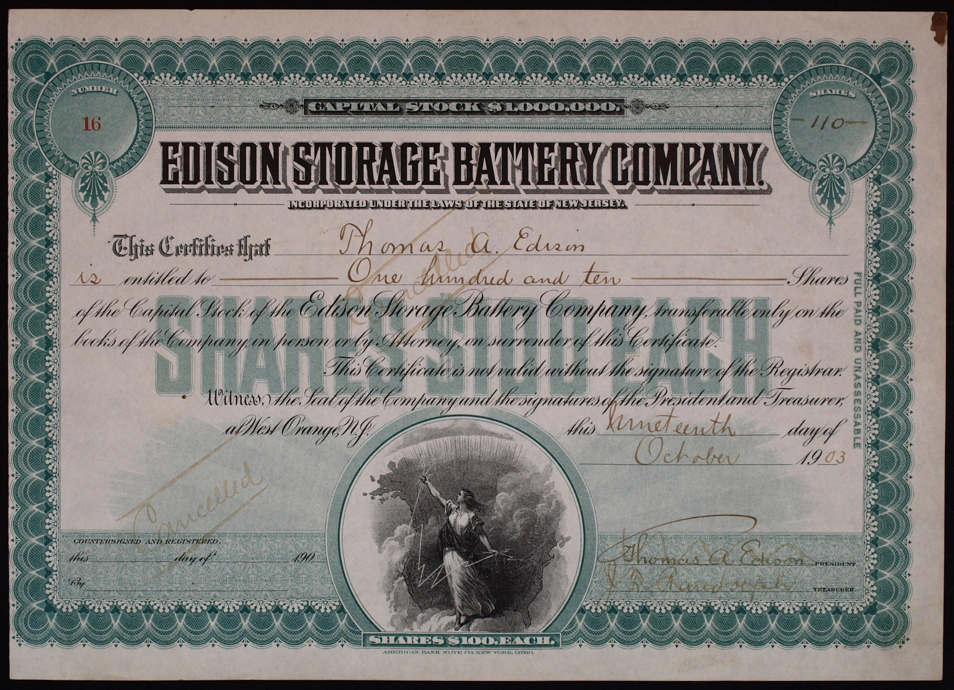Share of the Edison Storage Battery Company, issued October 19, 1903