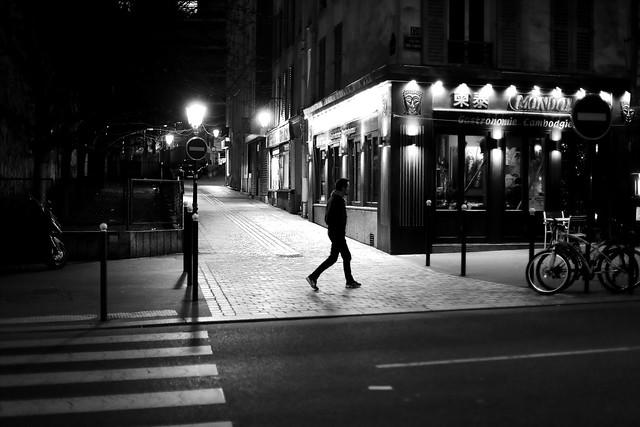 Crossing the lit passage