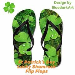 :four_leaf_clover: #Green #Lucky #Shamrock #StPatricksDay #FlipFlops by #Bluedarkart - #Cafepress  :point_right: http://bit.ly/2XiGdik :four_leaf_clover:  #paddy #irish #stpaticksday #accessories #luckyshamrock #green #plant #nature #greenery #plants #sho