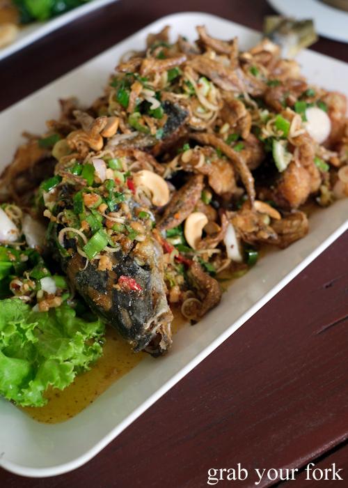 Larb pla tod fried rubyfish at Krua Navy Base Restaurant in Khao Lak, Thailand