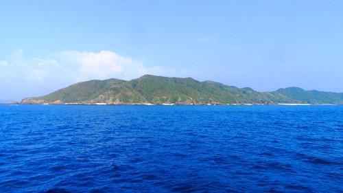 Tokashiku Island von der Fähre aus gesehen