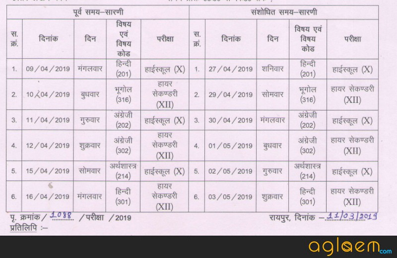 CGSOS 12th Revised Time Table 2019