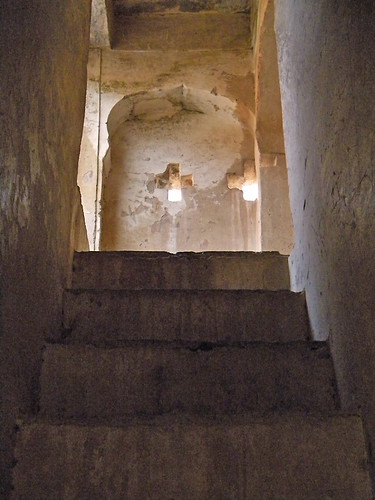 stairs up to a cross-shaped window in Bundi Fort in the hills above Bundi, India