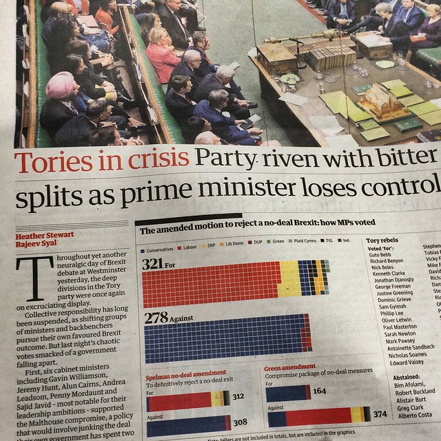 March 14,  2019: Tories in crisis over Brexit (The Guardian)