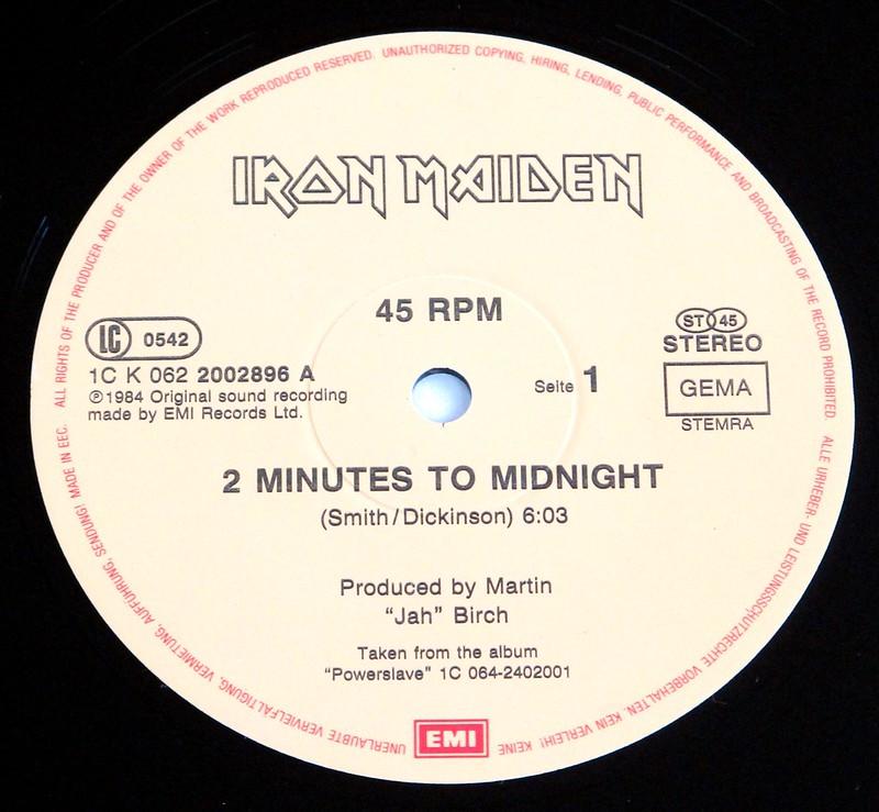 """IRON MAIDEN 2 MINUTES 2 MIDNIGHT MINT 12"""" MAXI-SINGLE VINYL"""