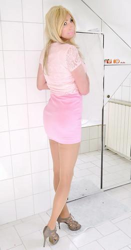 light pink lace crop top, pink mini skirt, nude slim platform high heel sandals