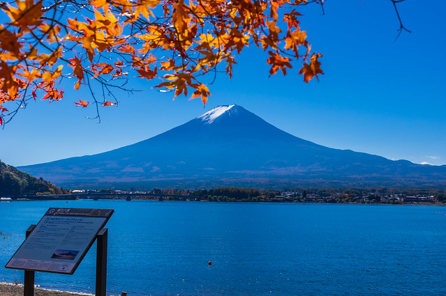 川口湖畔より富士山