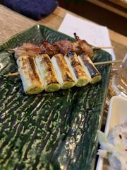 sashimi, yakiton, bell peppers. potato salad, sake, and highball at ebisu, nishi ogikubo