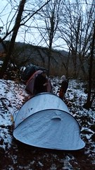 Only crazy people go camping in a snowy forest during winter