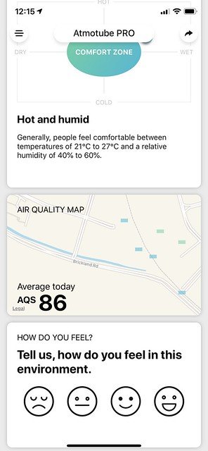 Atmotube iOS App - Dashboard - Air Quality Map