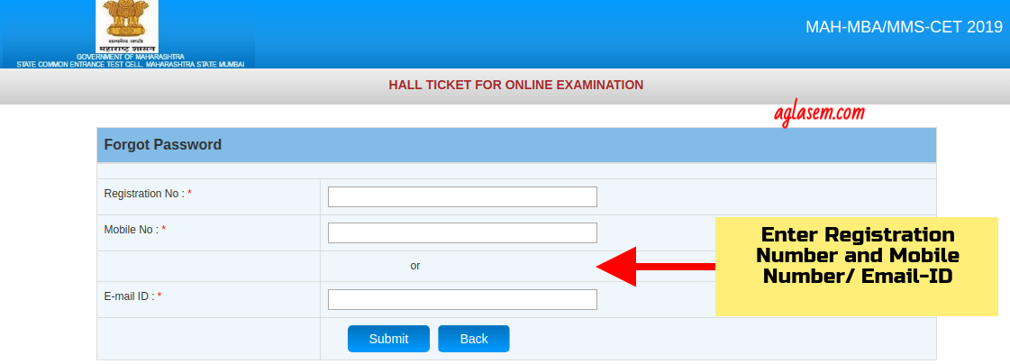 Recover Password for MAH MBA CET 2021 Admit Card