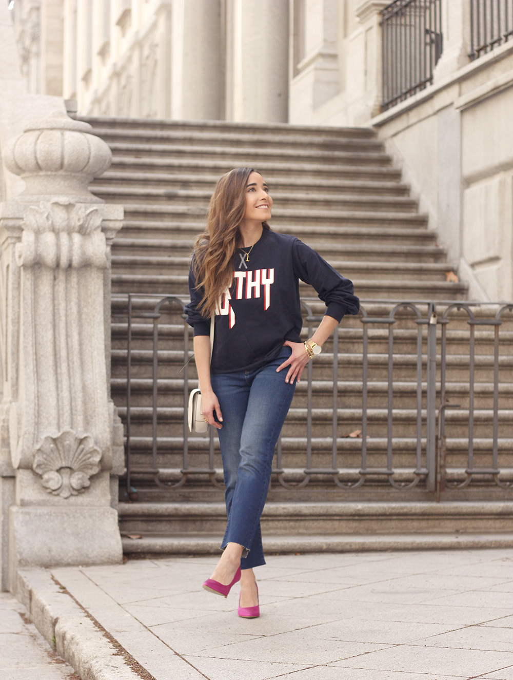 sweatshirt pink heels jeans find amazon fashion street style outfit 20192