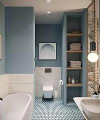 Small blue and white bathroom design, marble tiled, contemporary bathroom design, modern bathroom decorating idea
