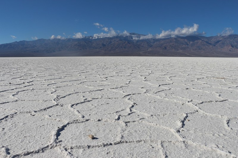 View toward Telescope Peak from the Badwater salt flats, Death Valley