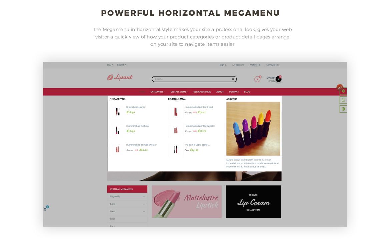 horizontal mege menu - Leo Lipart - Cosmetics and Beauty Prestashop Theme