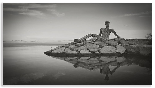 B&W Sunbathing figure Statue at Humber Bay