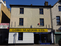 "A three-storey terraced building with an alleyway running to its left.  A large sign above the ground-floor shopfront reads ""Lobo Seafood Ltd"" in black on yellow, and a smaller sign above the door reads ""Lobo Means Good Fish"".  There is no display window, and very little of the interior can be seen."
