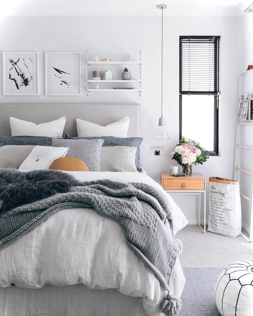 Gray White Bedding Cozy Comfortable Monochromatic Bedroom Decor