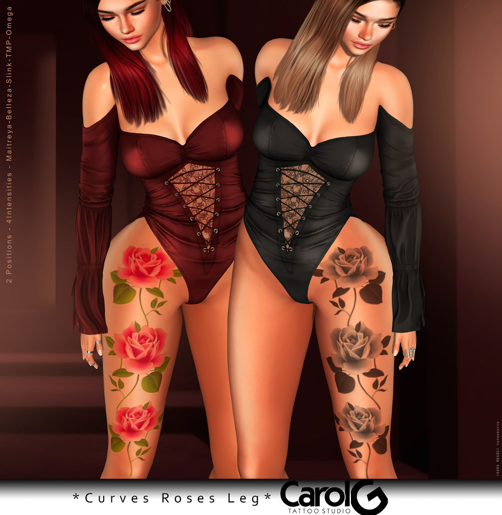 Curves Roses Leg Tattoo [CAROL G] –  For  Cosmopolitan EventCurves Roses Leg Tattoo [CAROL G]