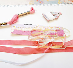 papers and ribbons, a ledger page