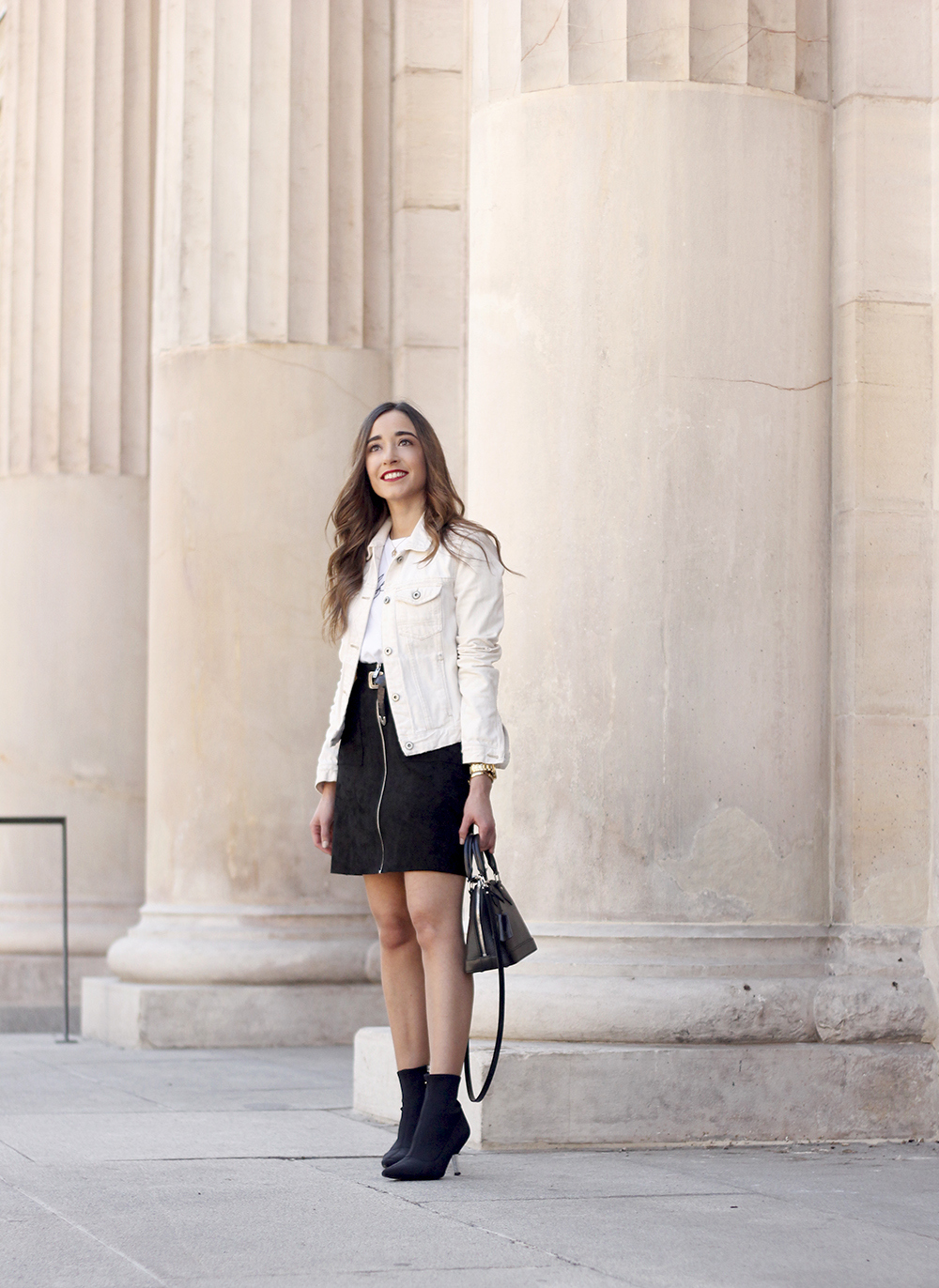 suede black skirt uterqüe ankle boots denim jacket louis vuitton bag street style outfit 20193