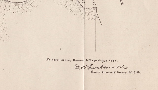 MAP EPHEMERA Onekama MI 1884 PORTAGE LAKE HARBOR & CHANNEL SOUNDINGS MAP as taken by and sign by a Captain of the Army Corps of Engineers foled thin velem paper whole and intact2