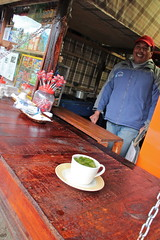 Buying a cup of coca tea at the Cotopaxi Visitors Center