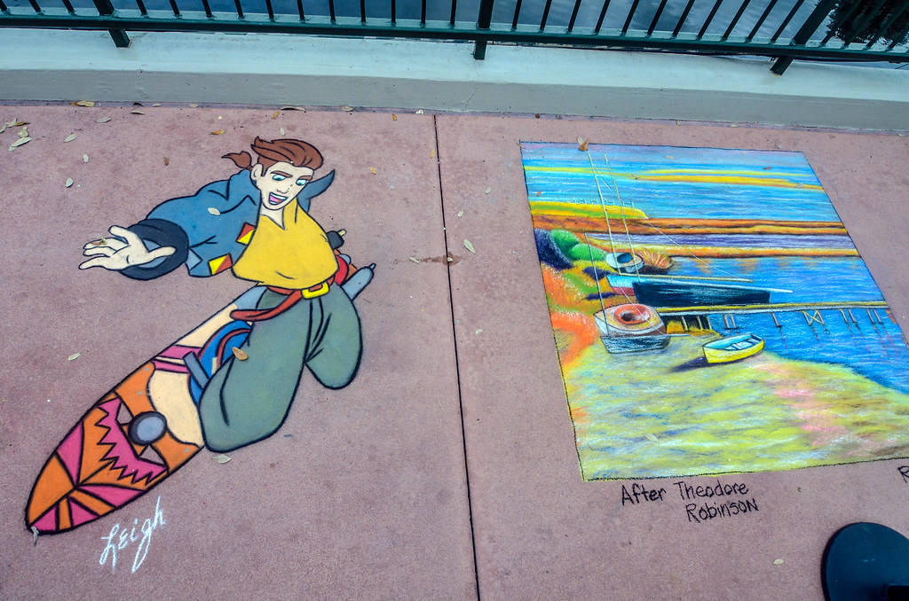 Epcot sidewalk art Festival of Arts