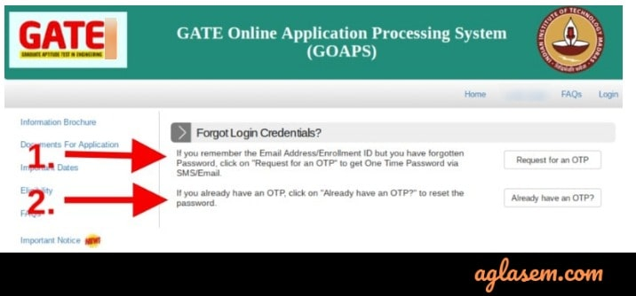 GATE 2020 forgot login